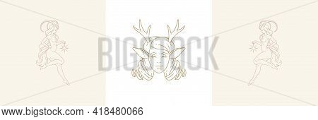 Female Faun Head With Antlers And Female Capricorn In Boho Linear Style Vector Illustrations Set.