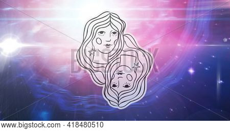 Illustration of black and white gemini zodiac star sign over stars on pink to purple background. astrology and star sign concept digitally generated image.