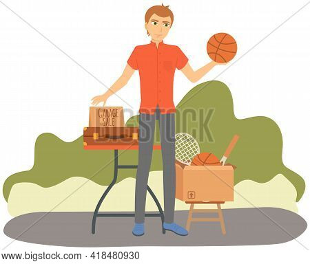 Man Is Selling His Sports Equipment At Garage Sale In Sunny Day. Event For Sale Of Used Things For L