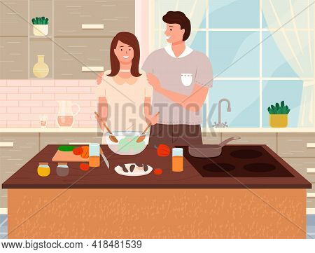 Happy Family Cooking Healthy Vegetarian Food Together In Kitchen At Table. Prepearing Family Dinner