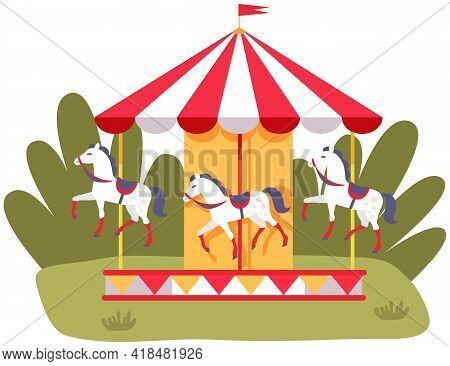 Carousel With Three Colored Horses On Playground. Outdoor Entertainment For Children. Colorful Attra