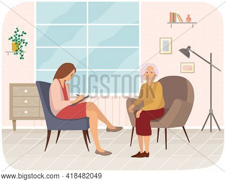 Elderly Woman Talking To Psychotherapist Or Psychologist And Answer Questions. Patients At Reception