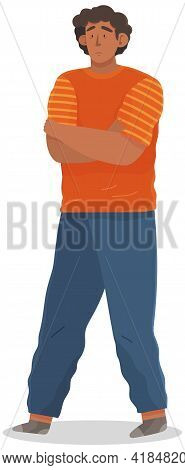 Young Unhappy Man With Black Hair Dressed In Casual Clothes. Male Sad Character Standing Isolated On