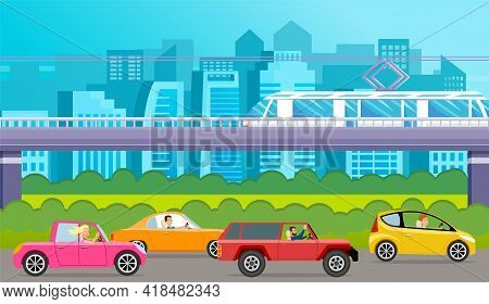 Crossover, Cross Country Car, Station Wagon, Car With Tinted Glasses Vector Illustration. Transport