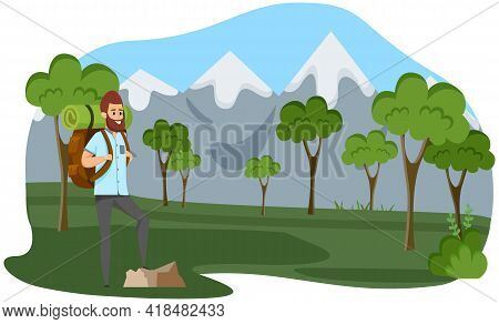 Young Man Traveler And Hiker Breathes Fresh Air Outdoors. Guy With Backpack Is Engaged In Tourism. B