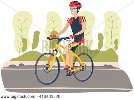 Guy In Helmet And Sportswear Riding In Park. Man Rides Bicycle On Road. Male Character Does Sports O