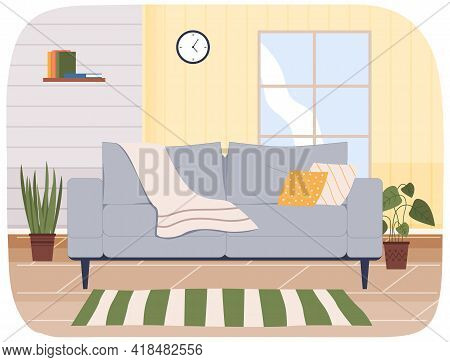 Large Soft Bright Sofa In Interior Of Living Room. Arrangement Of Furniture And Layout Of Apartment