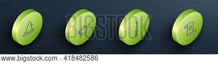 Set Isometric Line Witch Hat, Magic Lamp Or Aladdin, Wand And Ancient Magic Book Icon. Vector