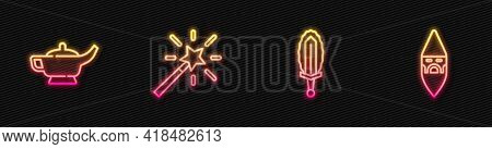 Set Line Magic Sword In Fire, Lamp Aladdin, Wand And Wizard Warlock. Glowing Neon Icon. Vector