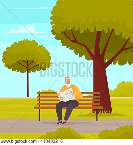Old Man With Glasses Sitting And Reading Newspaper On Bench In Park. Retiree Elderly Male Character