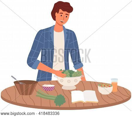 Man Is Studying Culinary Cookbook With Recipes. Male Character Preparing Vegetarian Salad. Proper Nu