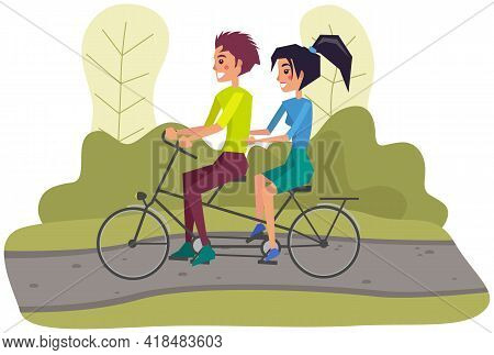 Couple Riding Twin Or Tandem Bicycle On Road In Park Or Lawn. Woman And Man Spending Time On Date Ac