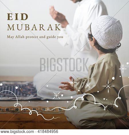 Eid Mubarak social media post  with greeting