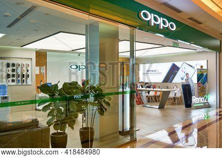 KUALA LUMPUR, MALAYSIA - CIRCA JANUARY, 2020: OPPO flagship store shopfront at Suria KLCC shopping mall in Kuala Lumpur.