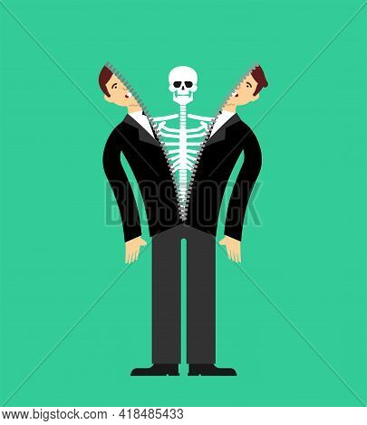 Skeleton Inside Person. Skeleton Climbs Out Of Man. Skin Anatomical Human Suit