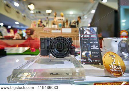 KUALA LUMPUR, MALAYSIA - CIRCA JANUARY, 2020: close up shot of Sony Alpha 6000 on display at Sony store in Suria KLCC shopping mall in Kuala Lumpur.