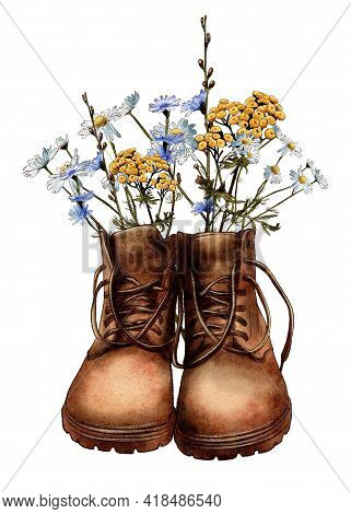 Watercolor Vintage Boots With Wildflowers, Hiking Boots, Travel, Adventure