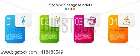 Set Line Ice Cream In Waffle Cone, Lollipop, Cake And Pudding Custard. Business Infographic Template