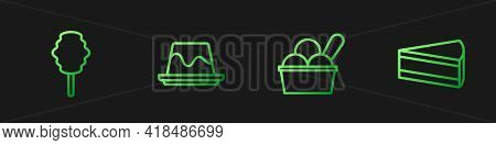 Set Line Ice Cream In Bowl, Cotton Candy, Pudding Custard And Piece Of Cake. Gradient Color Icons. V
