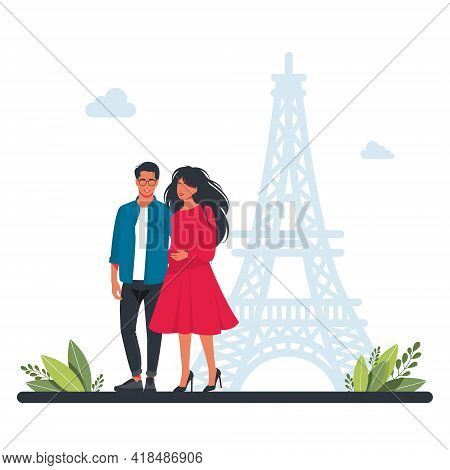Couple Walking In Paris Against The Backdrop Of The Eiffel Tower..people Group Travel. Happy Couples