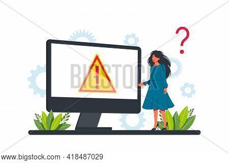 Warning Error Concept, Businessman Looking At An Internet Failure Screen On A Computer. Concept Oper