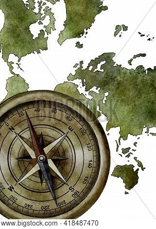 Watercolor Vintage Green World Map With Compass, Watercolor Illustration, Travel, Adventure