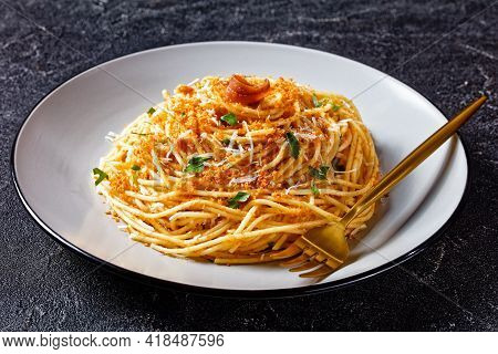Pasta Mollicata: Spaghetti With Anchovies And Toasted Breadcrumbs, Parmesan Cheese, And Parsley - Tr