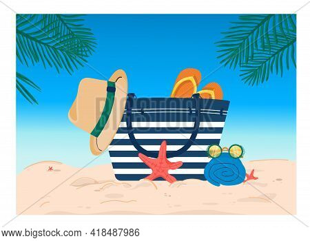 Summer Illustration With A Beach Bag On The Sand Against A Background Of Blue Sky And Palm Branches.