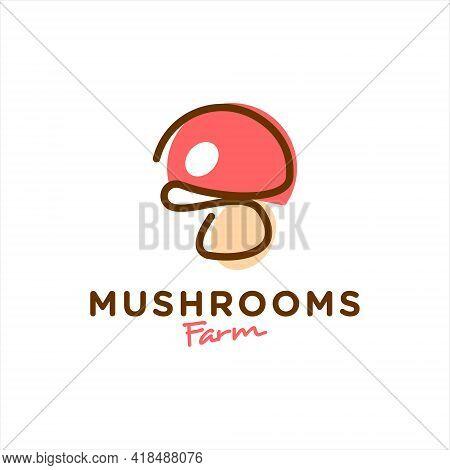 Cartoon Mushrooms Logo Fungi Vector Graphic Element For Farm Or Agriculture Design And Illustration