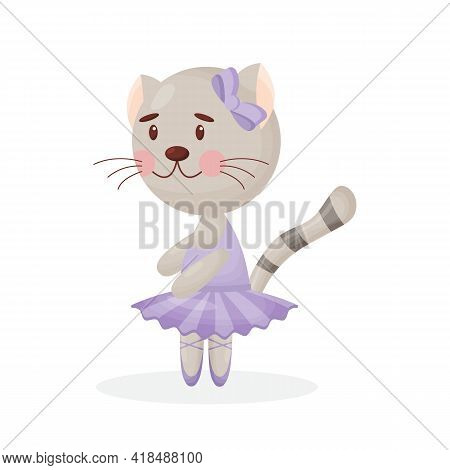 Happy Cute Cat Kitten Character Ballet Dancer In Pointed Shoes And Tutu Skirt Illustration Isolated