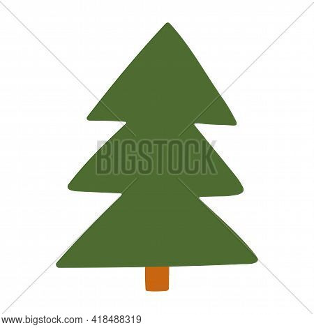 Spruce. Tree Vector Hand-drawn Illustration In Flat Style. Isolated Element On A White Background. E