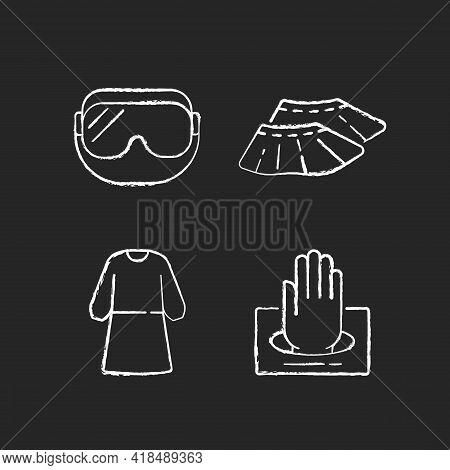 Disposable Medical Wear Chalk White Icons Set On Black Background. Protective Goggles. Shoe Covers.