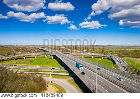 Aerial view of the highway viaduct in Gdansk, Poland