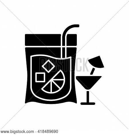 Cocktail To Go Black Glyph Icon. Alcoholic Beverage. Mixed Drink. Restaurant And Bar Delivery. Compo