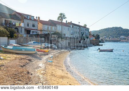 Vis, Croatia - 31.03.2021: View From Water Of Mediterranean Town Vis Without Tourists. Yachtind Dest