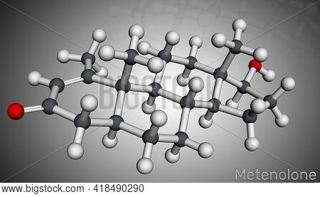 Metenolone, Methenolone Molecule. It Is Androgen, Anabolic Steroid. Molecular Model. 3d Rendering. 3