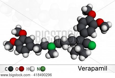 Verapamil Molecule. It Is Calcium Channel Blocker Used In Treatment Of High Blood Pressure, Heart Ar