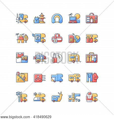 Nomadic Vacations Rgb Color Icons Set. Roadtrip Trailer. Rv Vehicle. Van For Tourist Lifestyle. Camp