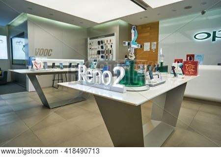 KUALA LUMPUR, MALAYSIA - CIRCA JANUARY, 2020: interior shot of OPPO flagship store at Suria KLCC shopping mall in Kuala Lumpur.