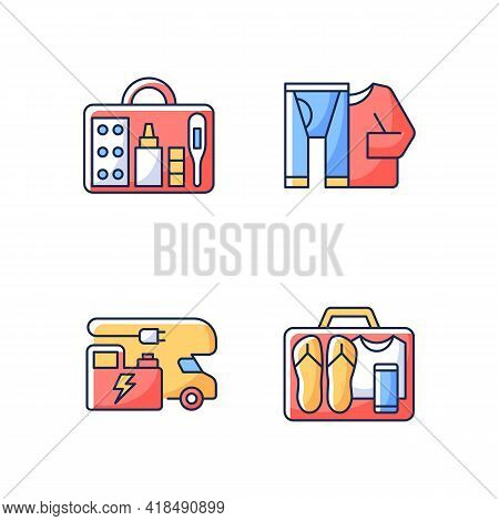 Traveler Things For Vacation Rgb Color Icons Set. Trailer Electricity Generator. Thermal Wear. First