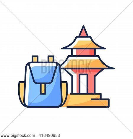 Spiritual Nomad Rgb Color Icon. Trip To Shrine For Spirituality. Visit Holy Place. Asian Landmark. N