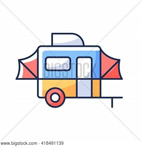 Pop Up Camper Rgb Color Icon. Campground For Tourist To Rest. Recreational Vehicle. Roadtrip Gear. N