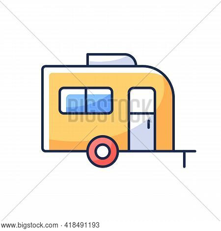 Caravan Rgb Color Icon. Trailer For Nomads Lifestyle. Roadtrip Transportation. Camping Trip For Trav