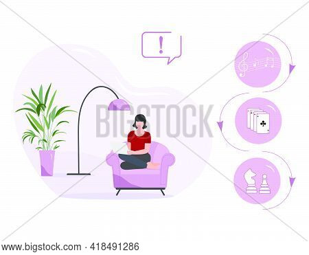 Vector Illustration Woman Using Laptop For Chooses Listen To Music Play Online Game Playing Cards Ch