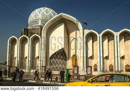 Tehran,iran,november 29,2020:additional Work On The Facade Of The Modern Tan Mosque On The Side Of T