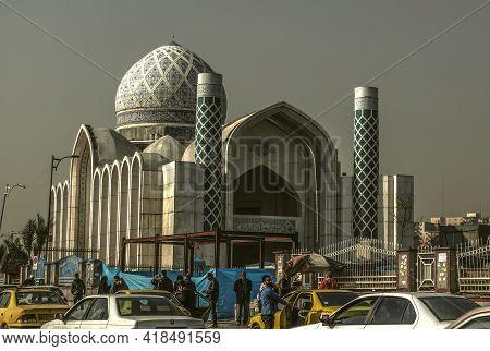 Tehran,iran,november 29,2020: Modern, White With Blue Patterns, The Tan Mosque Next To The Lashkari