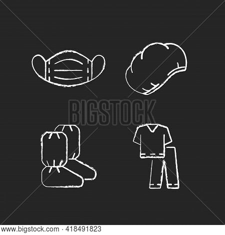 Disposable Medical Equipment Chalk White Icons Set On Black Background. Sterile Mask For Protection