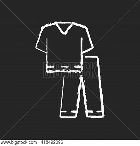 Scrub Suit Chalk White Icon On Black Background. Top And Trousers For Nurse. Suit To Work In Clinic.