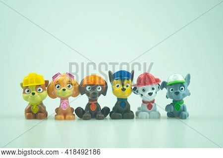 Bangkok, Thailand - April 27, 2021 : Toy Of Paw Patrol Team Standing In A Row. Heroes Of The Animate