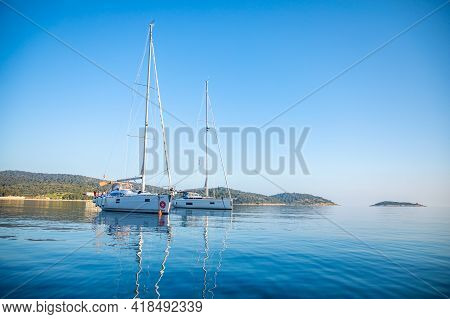 Vis, Croatia - 31.03.2021: Luxury Yacht In The Marina At Sunrise Lights In Croatia